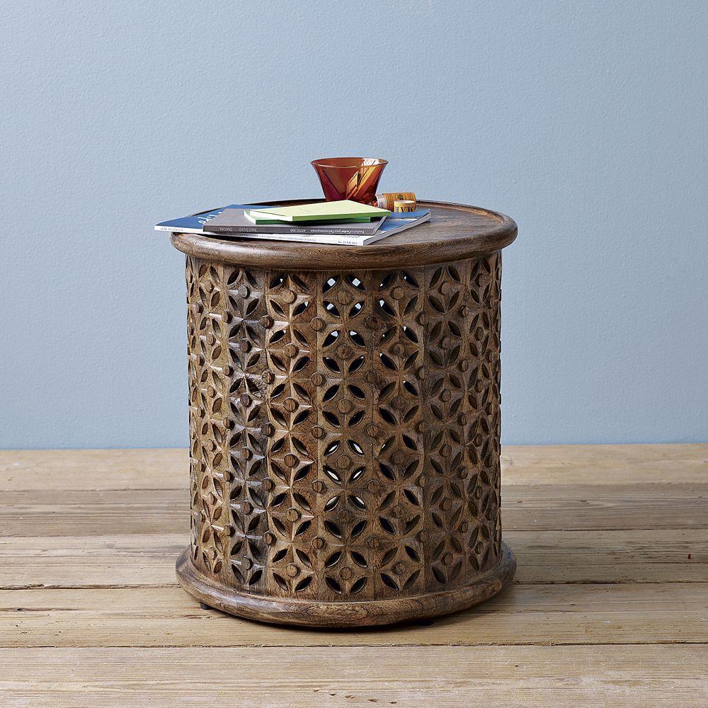 carved wood side table west elm uk. Black Bedroom Furniture Sets. Home Design Ideas