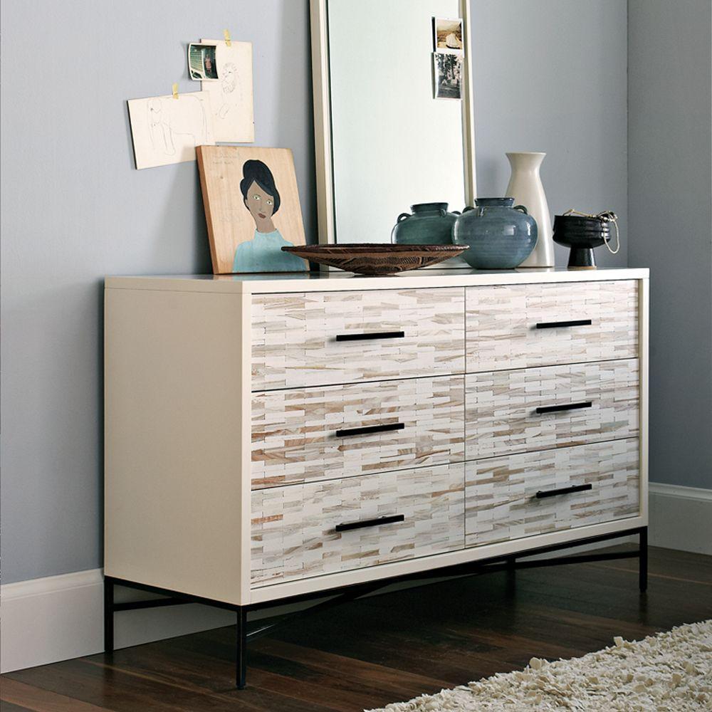 wood tiled drawer chest  west elm uk - wood tiled drawer chest
