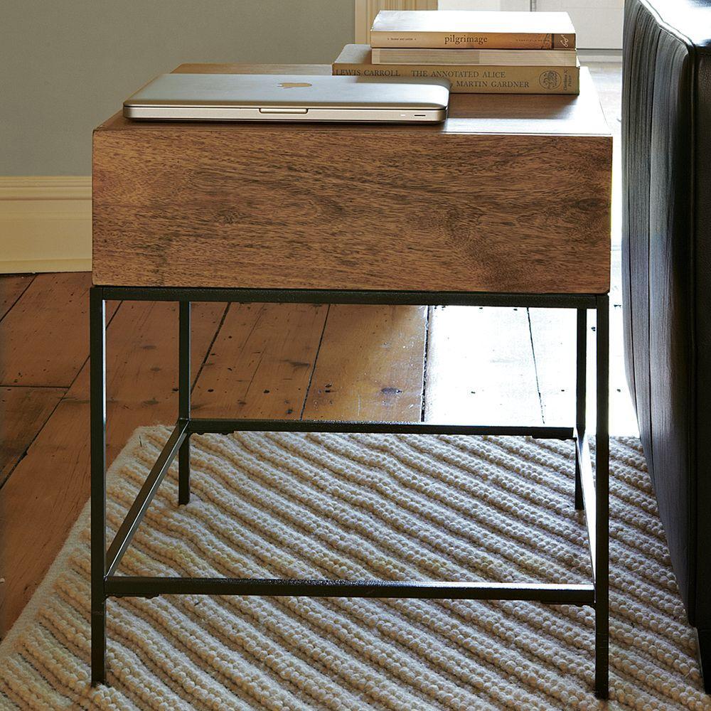 industrial storage side table west elm uk. Black Bedroom Furniture Sets. Home Design Ideas
