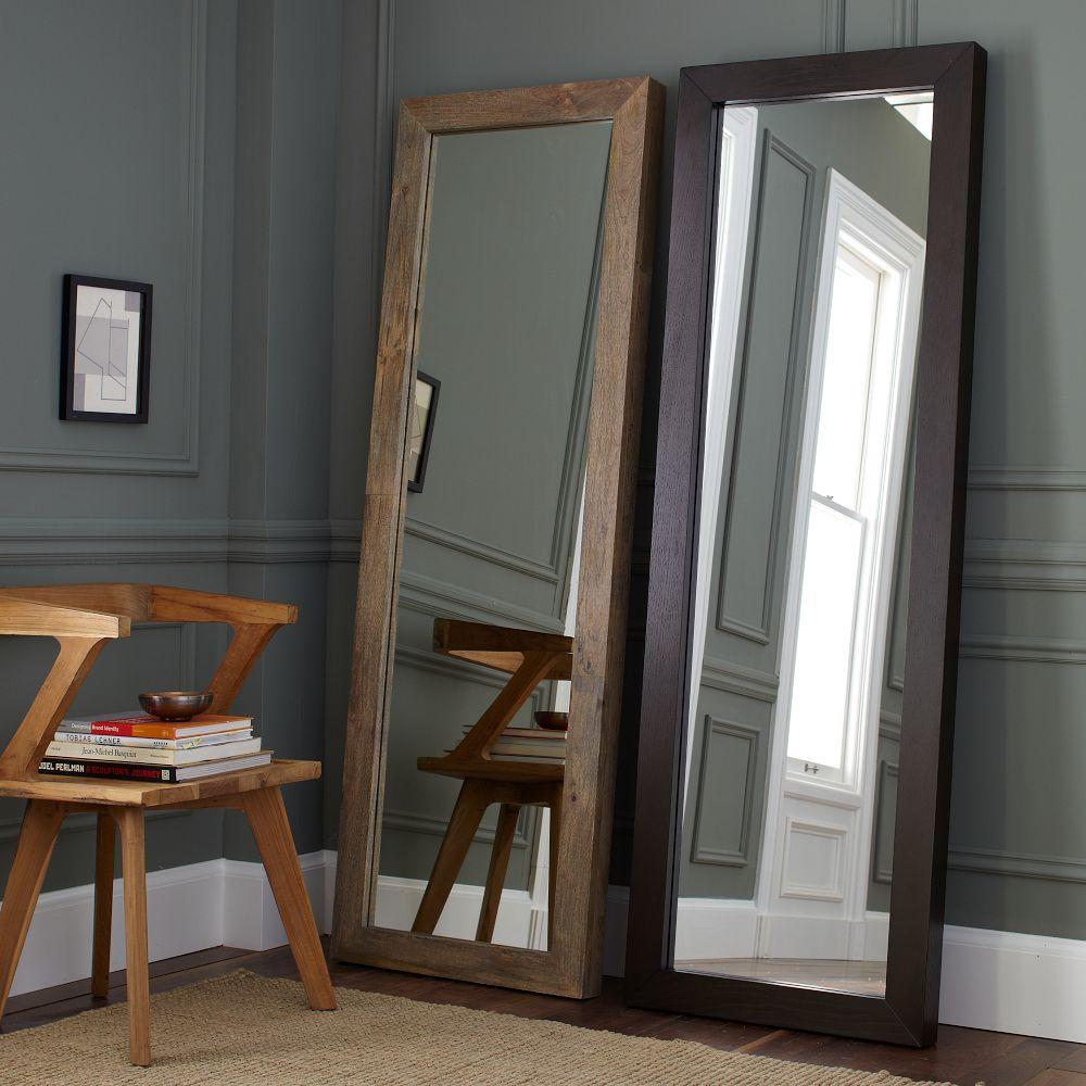 Parsons floor mirror natural solid wood west elm uk for Floor wall mirror