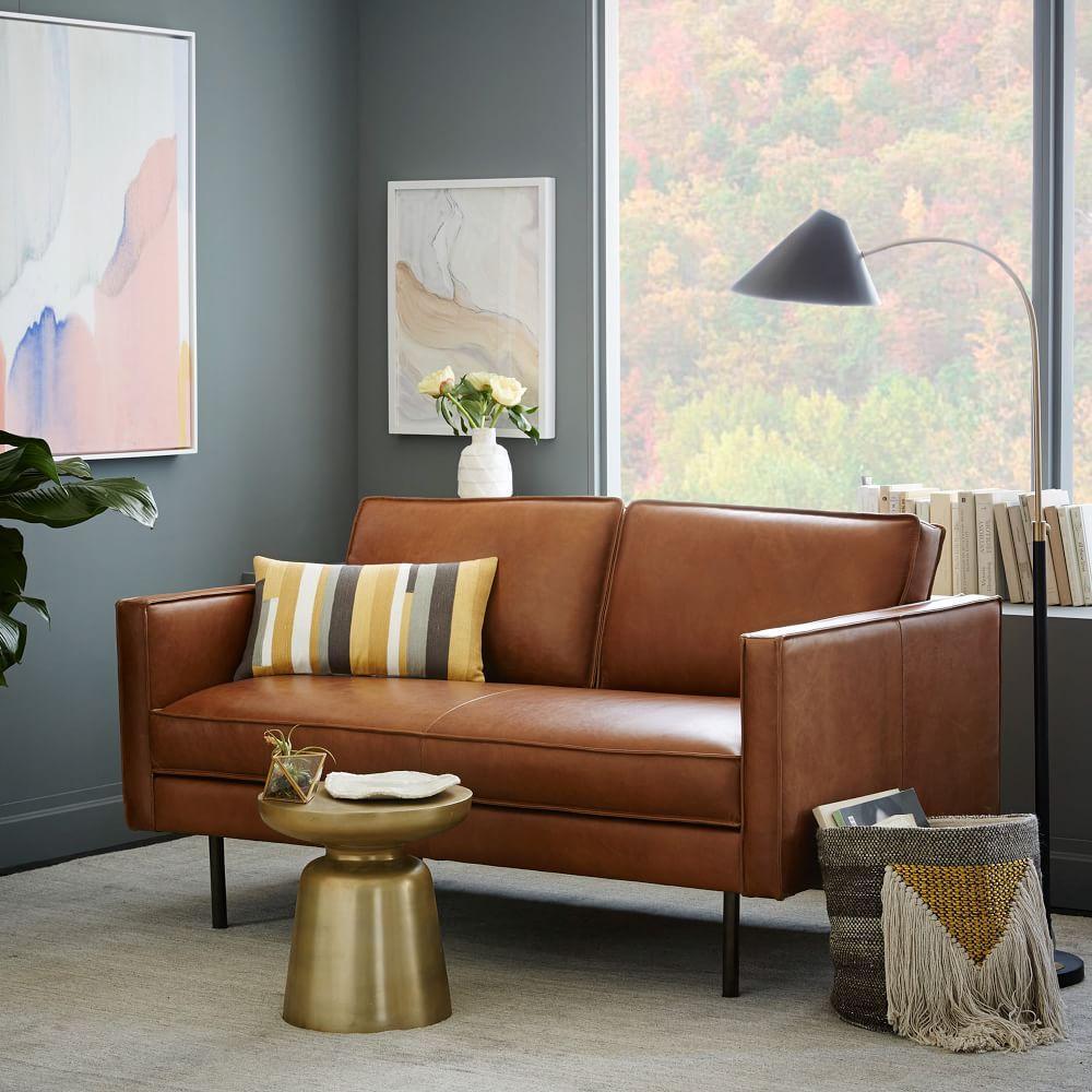 axel leather loveseat 154 cm west elm uk. Black Bedroom Furniture Sets. Home Design Ideas