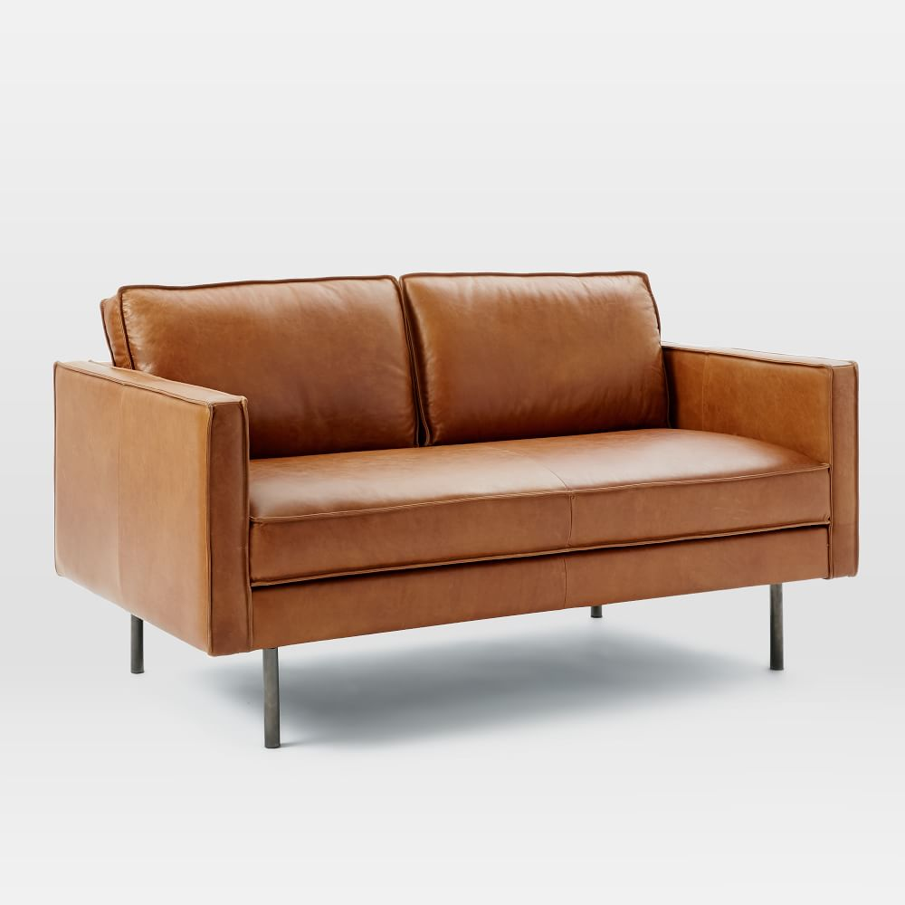 Axel Leather Loveseat 154 Cm West Elm Uk