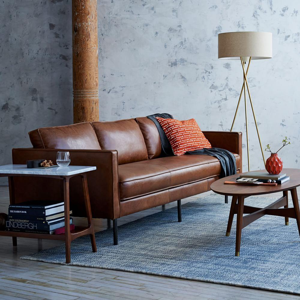 Axel Leather Sofa 226 Cm Saddle West Elm Uk