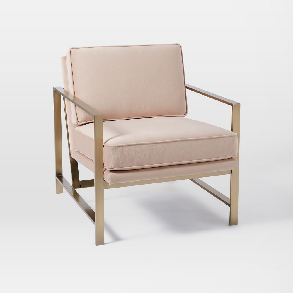 Metal Frame Upholstered Chair - Dusty Blush