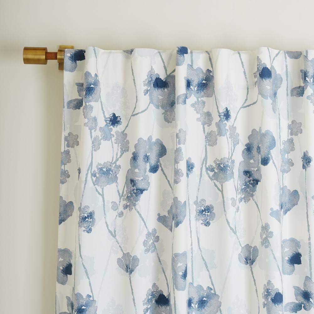 Cotton Canvas Shadow Floral Curtain West Elm Uk