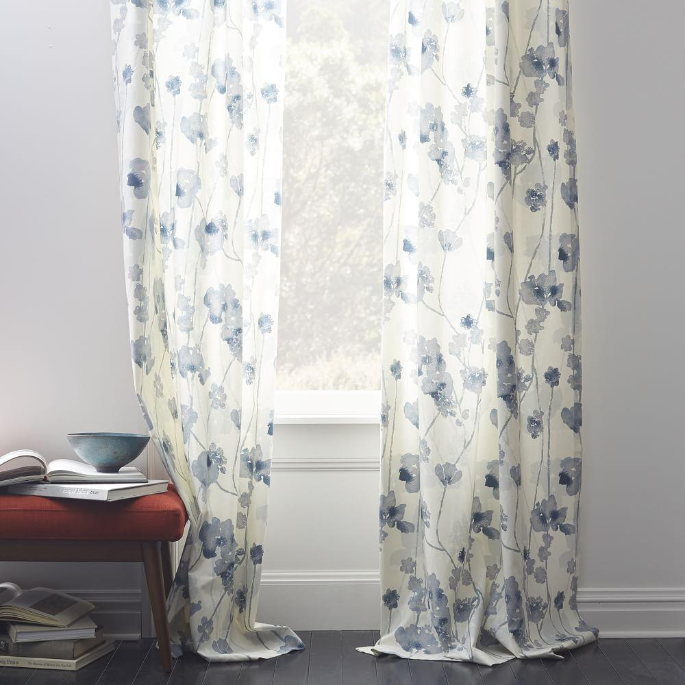 Cotton Canvas Shadow Floral Curtain