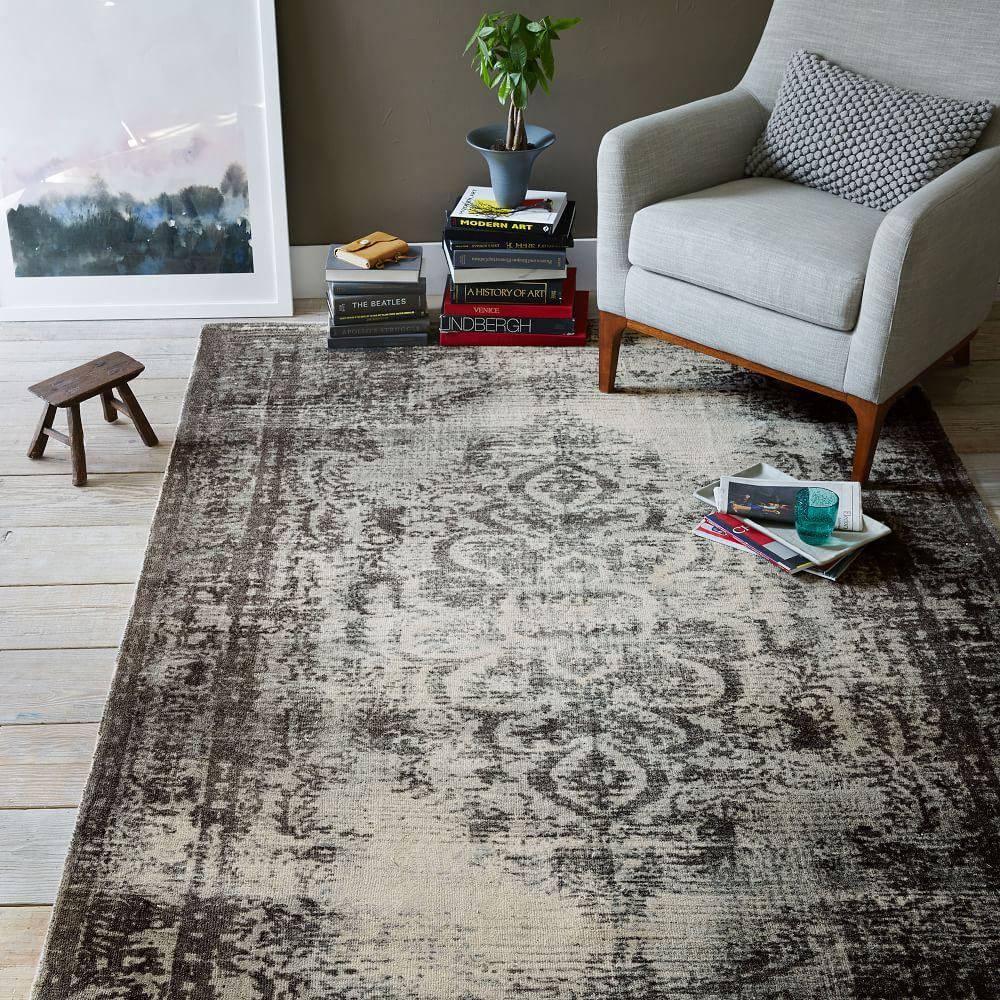 West Elm Blue And White Rug: Distressed Arabesque Wool Rug - Steel