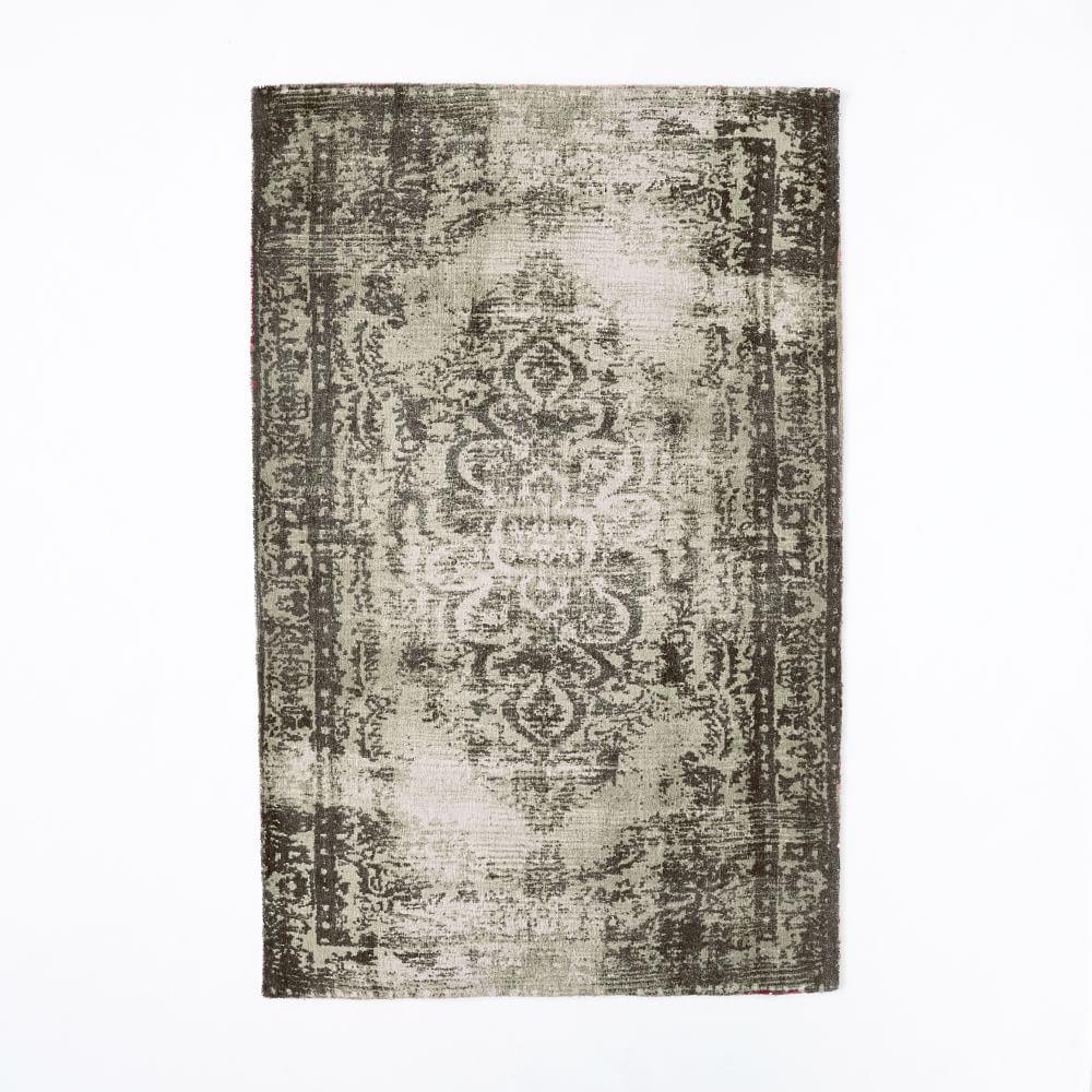 Distressed Arabesque Wool Rug - Steel