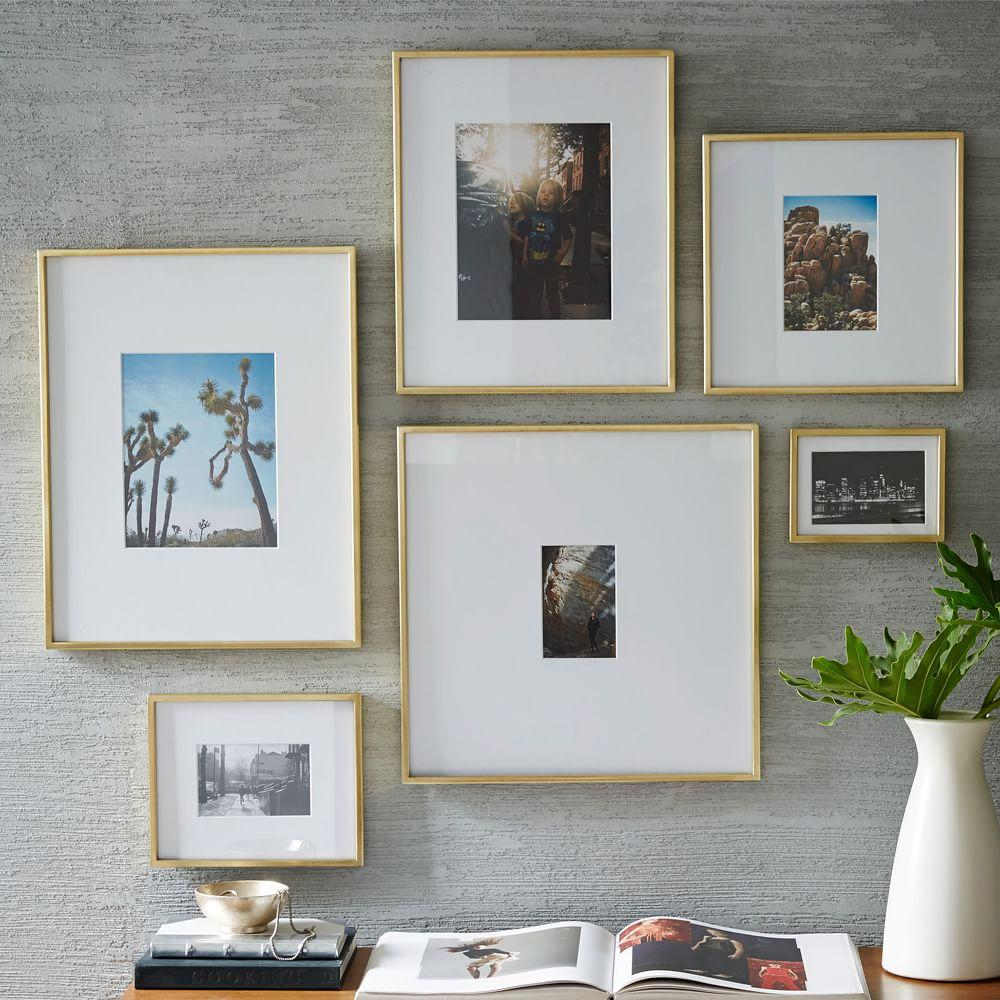 Gallery frames polished brass west elm uk for Wall of framed pictures