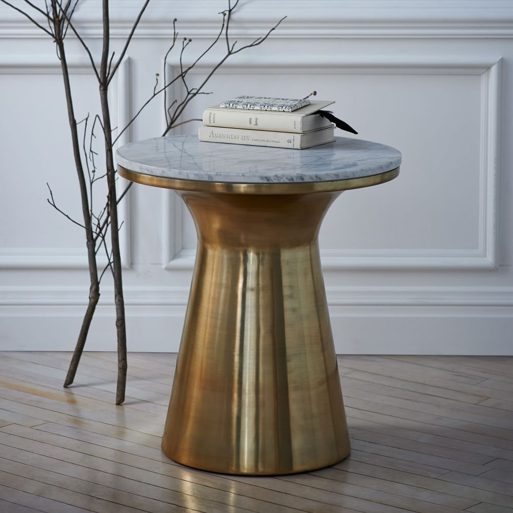 Marble Top Coffee And Side Tables: Marble Topped Pedestal Side Table
