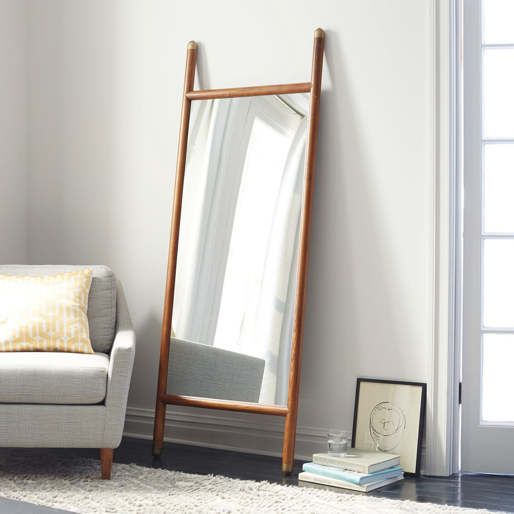Mid century dowel mirror west elm uk for Floor wall mirror