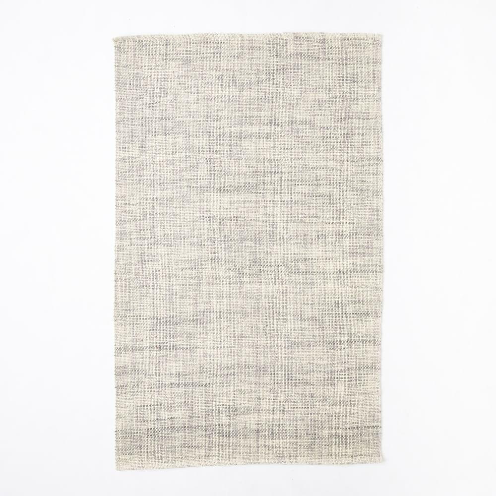 Mid-Century Heathered Basketweave Wool Rug - Steel