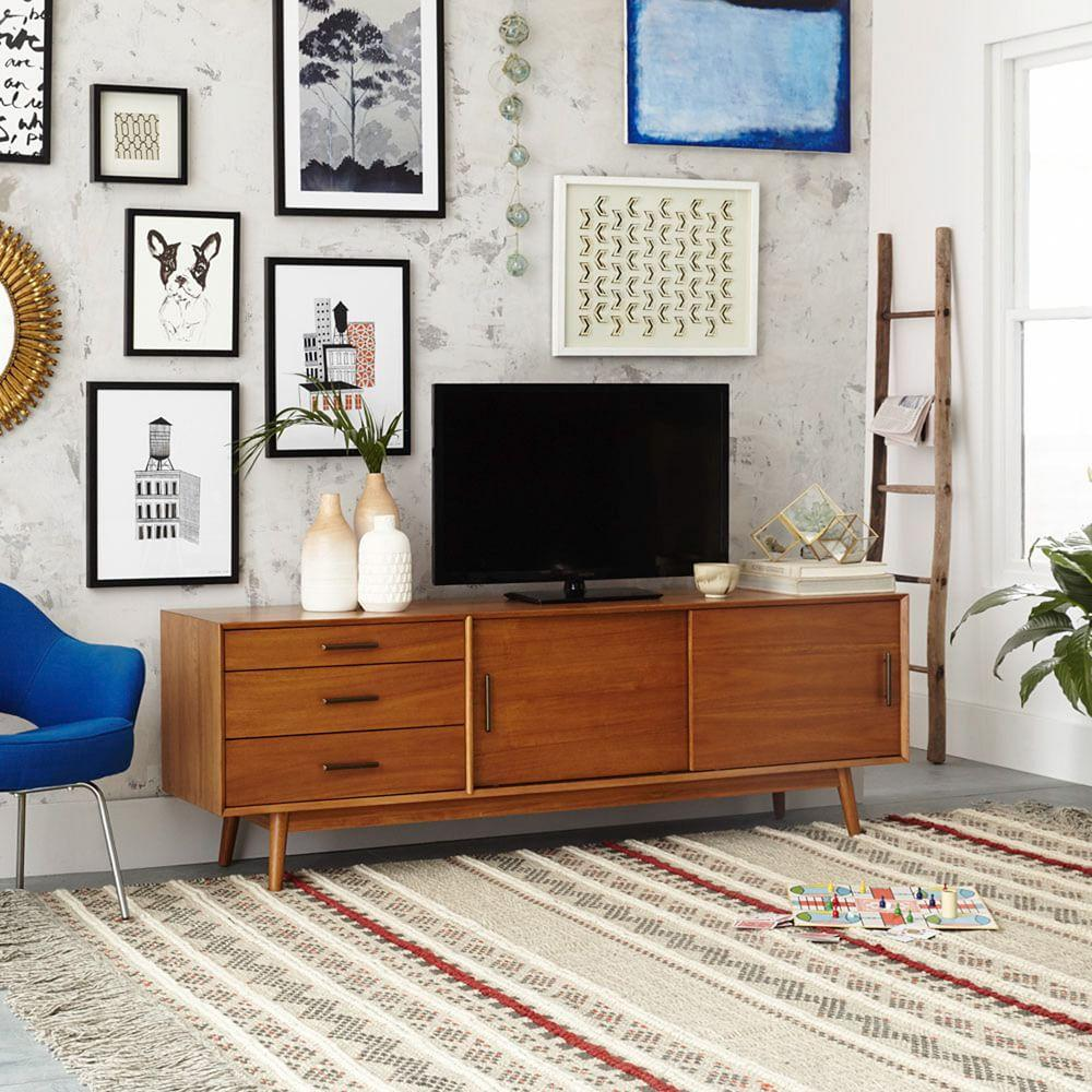 Mid century media console 203 cm acorn west elm uk for Modern retro living room ideas