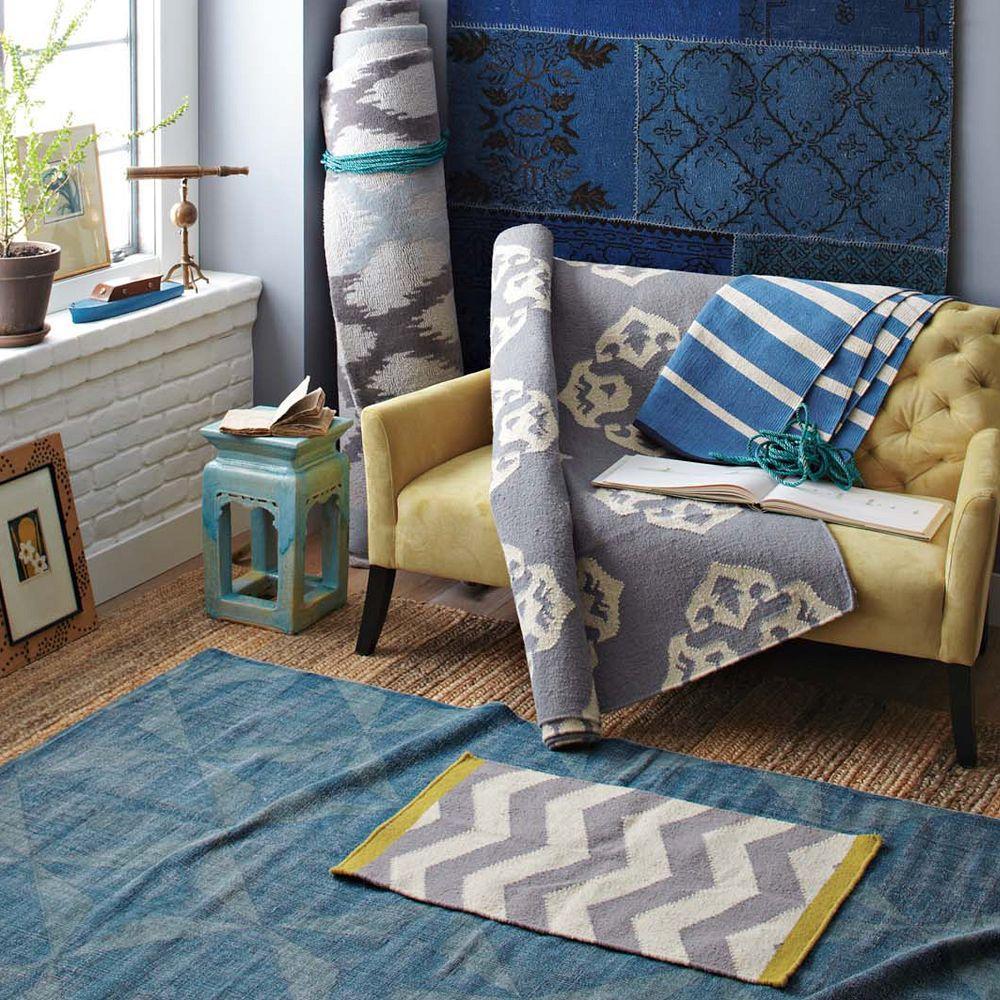 West Elm Blue And White Rug: Ikat Links Wool Rug