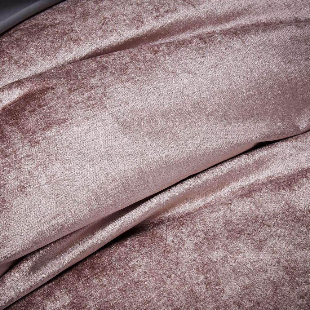 Washed Cotton Lustre Velvet Duvet Cover + Pillowcases - Dusty Blush