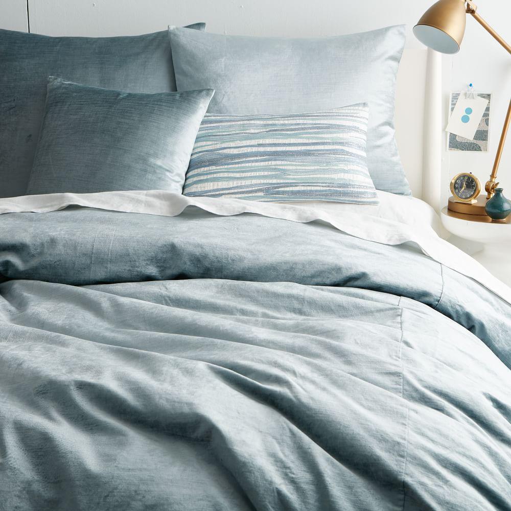 Washed Cotton Lustre Velvet Duvet Cover Pillowcases
