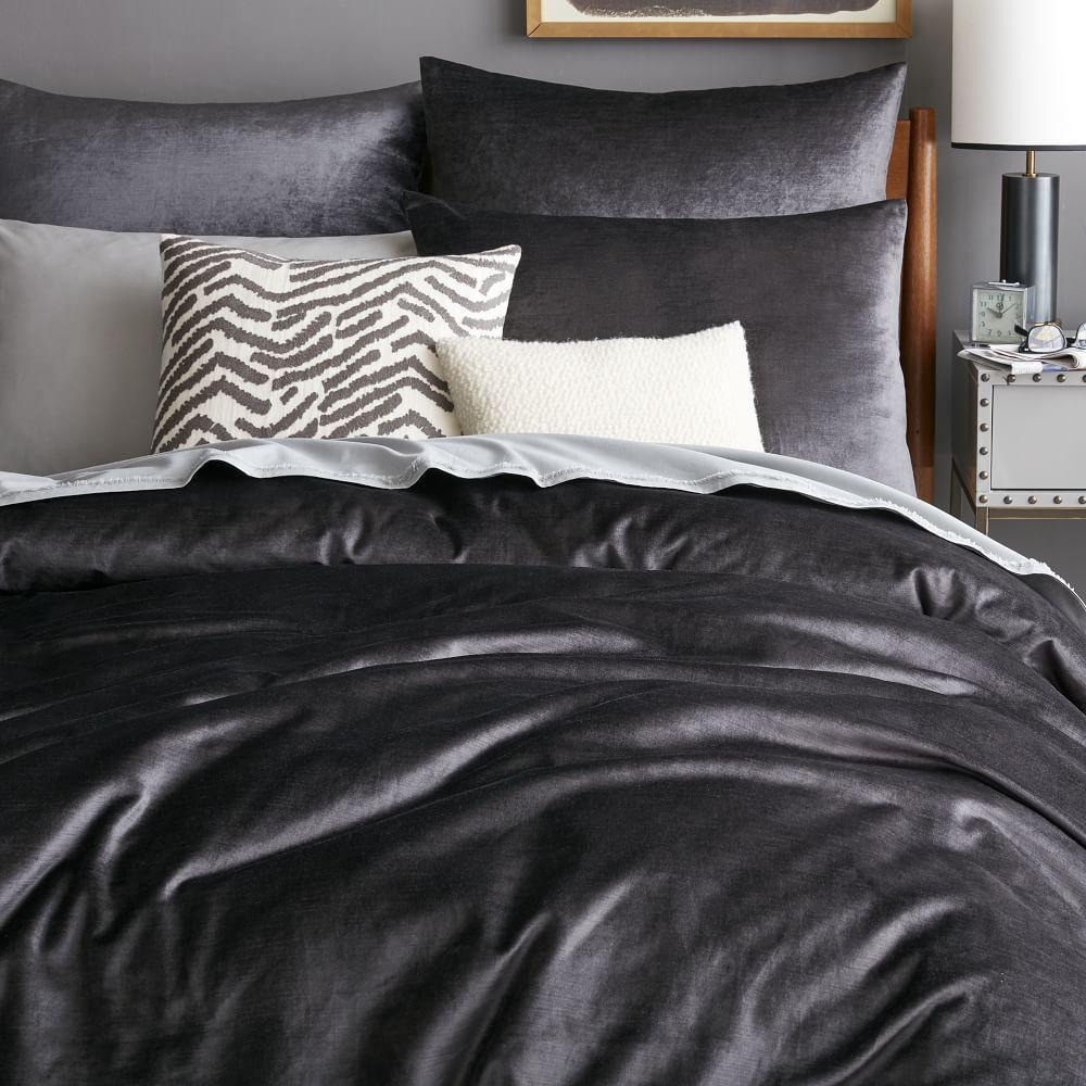 Washed Cotton Lustre Velvet Duvet Cover Pillowcases