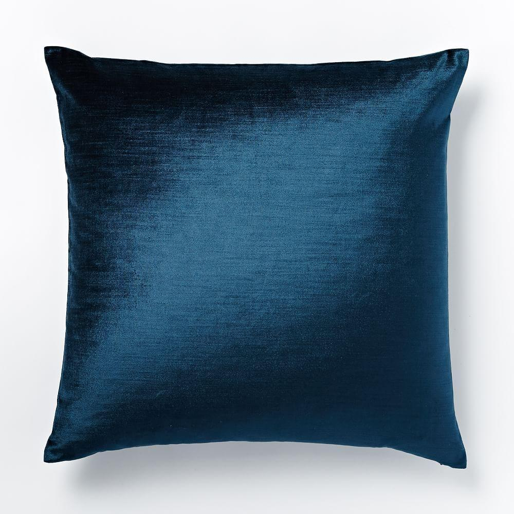 Cotton Lustre Velvet Cushion Cover Regal Blue West Elm Uk