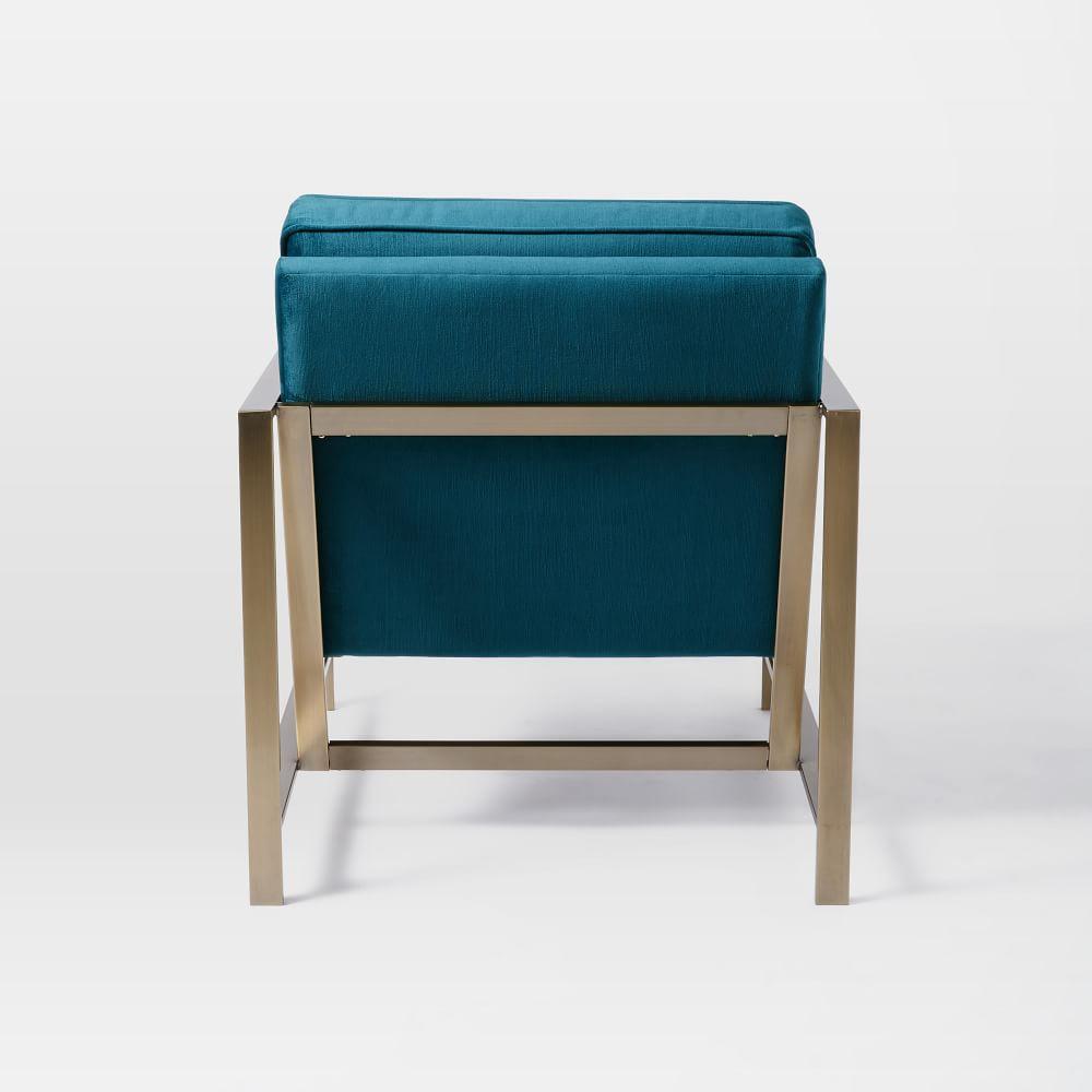 Metal Frame Upholstered Chair Celestial Blue West Elm Uk