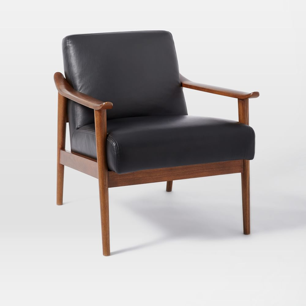 mid century leather show wood chair west elm uk. Black Bedroom Furniture Sets. Home Design Ideas