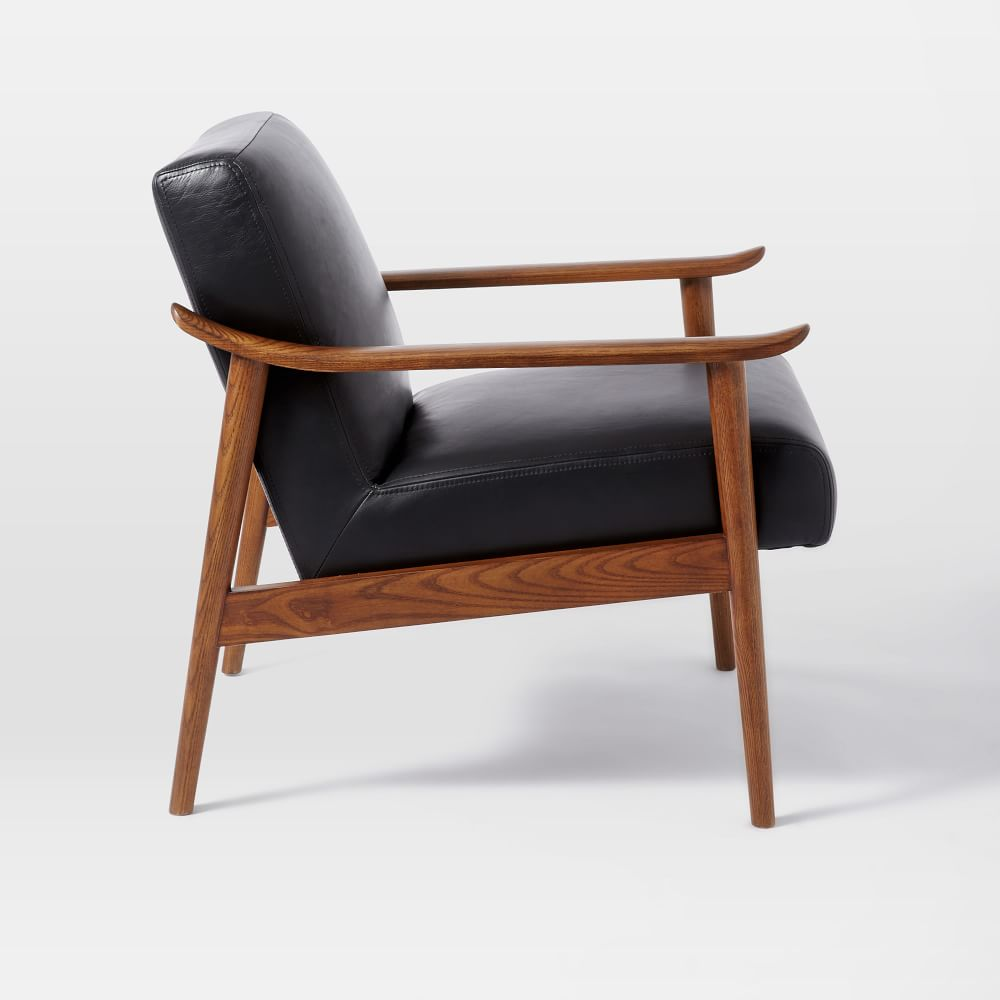 mid century leather show wood chair west elm uk