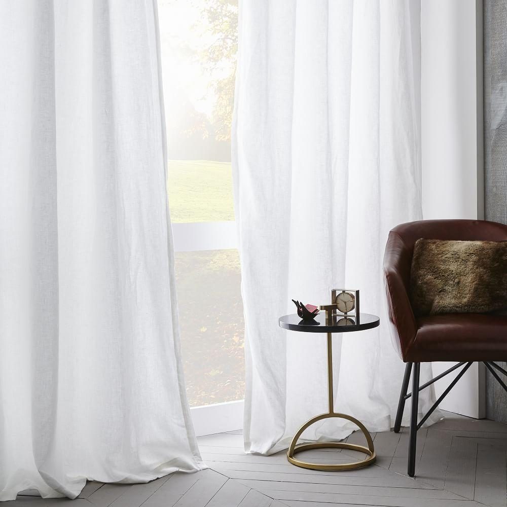 Belgian flax linen curtain blackout lining white
