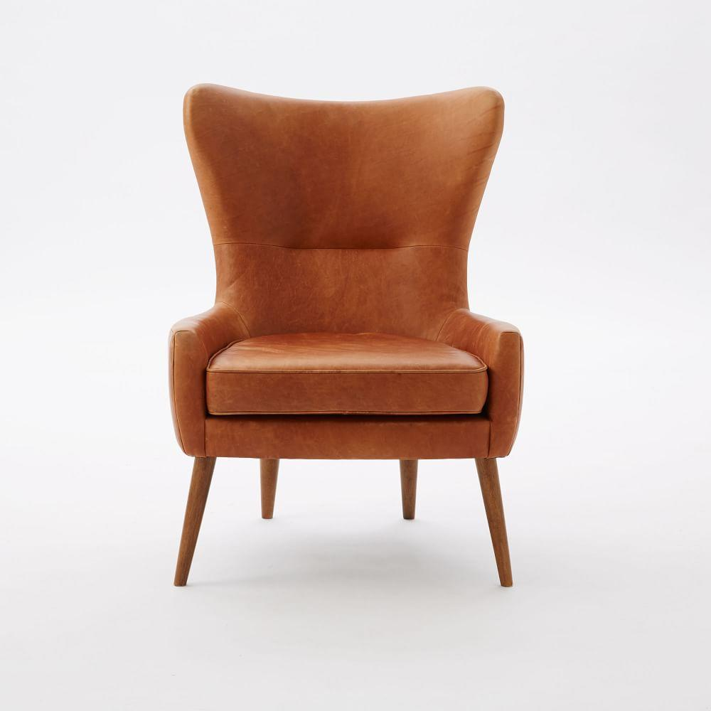 Erik Leather Wing Chair West Elm Uk
