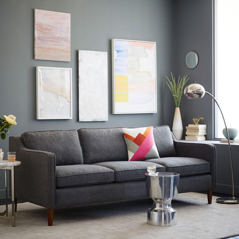 Hamilton Upholstered Sofa 206 Cm Salt And Pepper