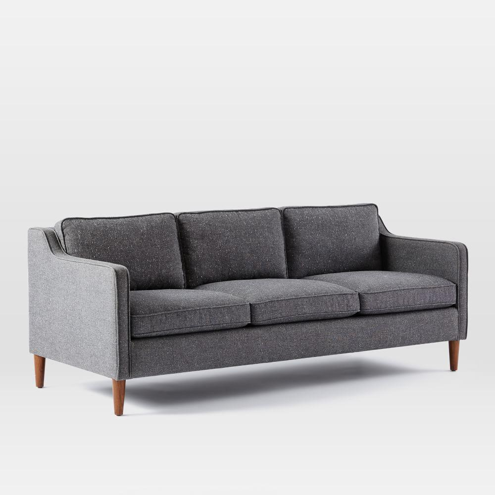 Hamilton Upholstered Sofa (206 cm) - Salt and Pepper (Tweed)