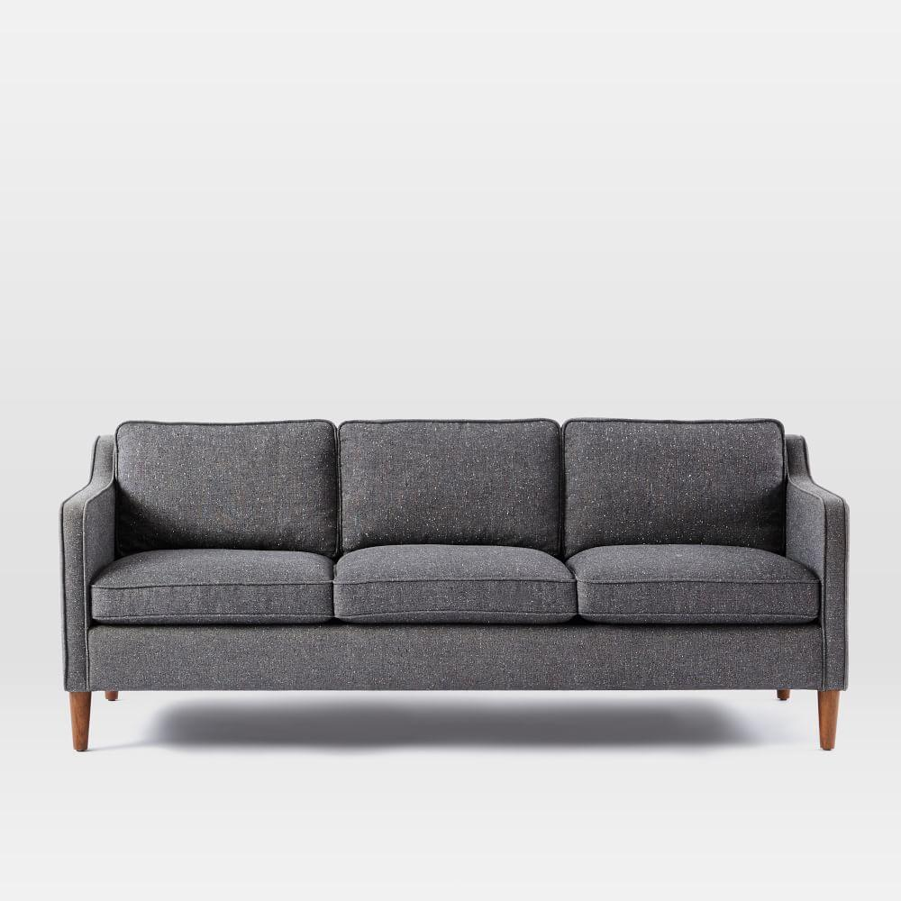 Hamilton Upholstered Sofa 206 Cm Salt And Pepper Tweed West