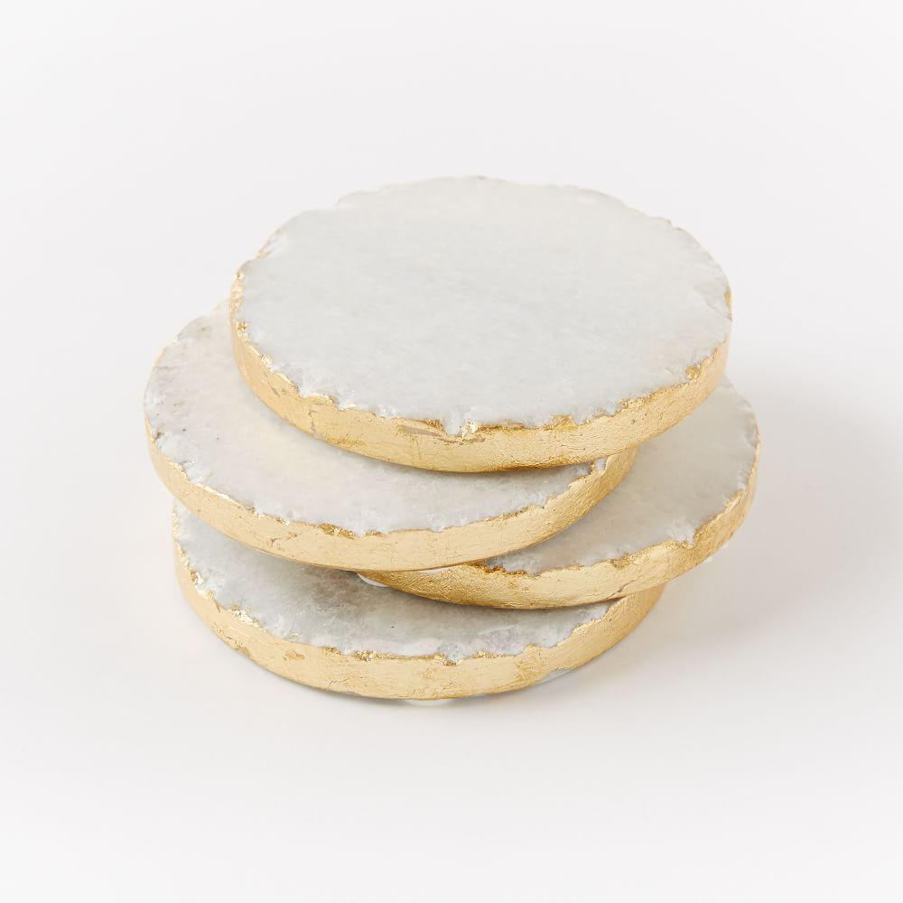 Round Stone Coasters White Gold Set Of 4