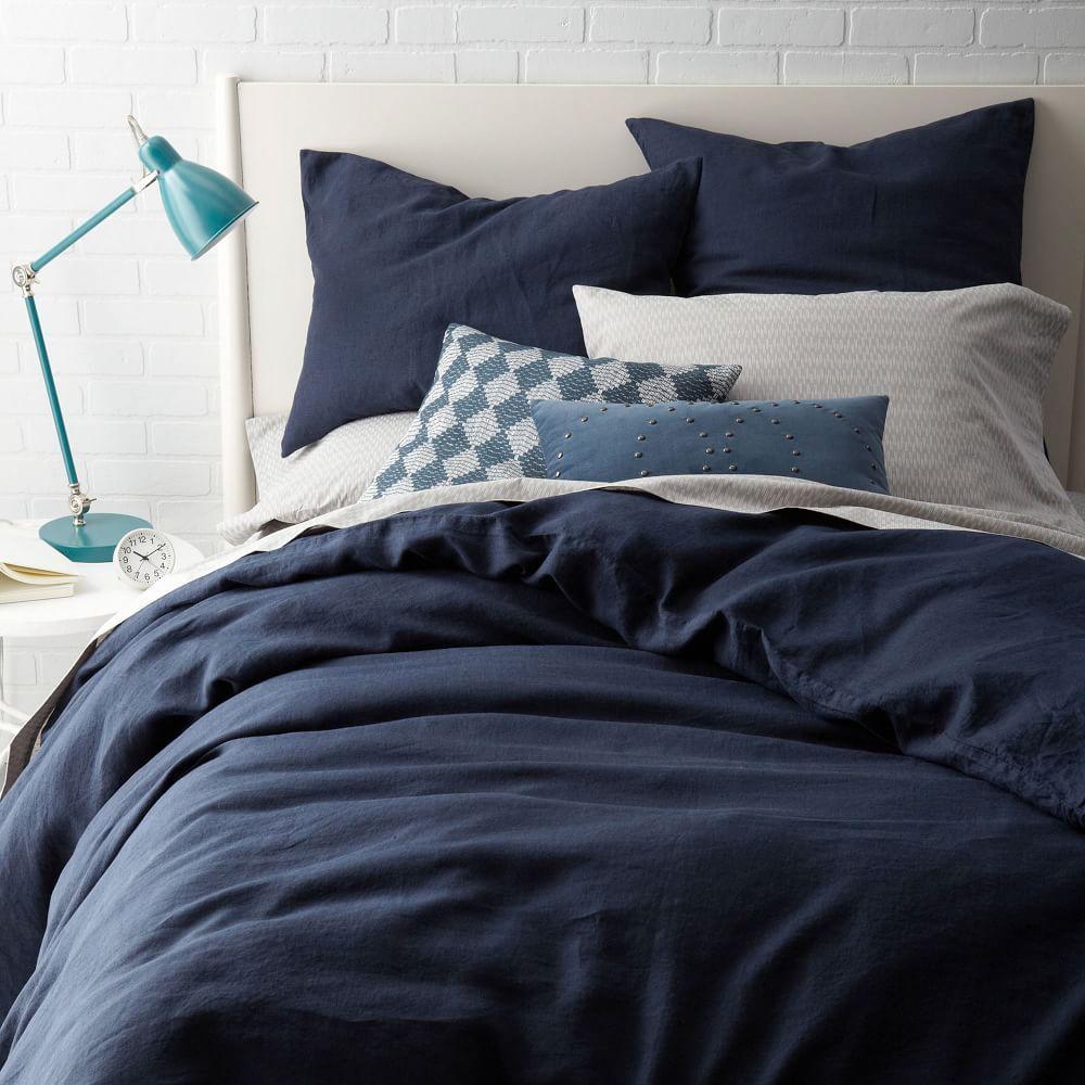 Belgian Flax Linen Duvet Cover + Pillowcases - Midnight