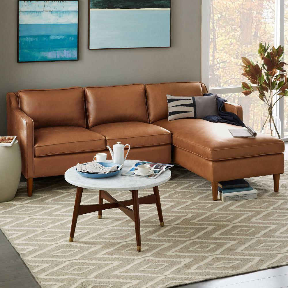 Leather chaise sofa - Hamilton 2 Piece Leather Chaise Sectional