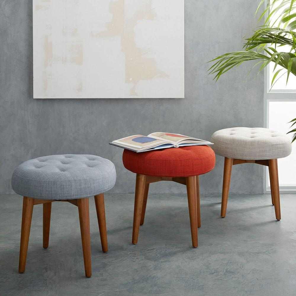Mid Century Upholstered Stool West Elm Uk