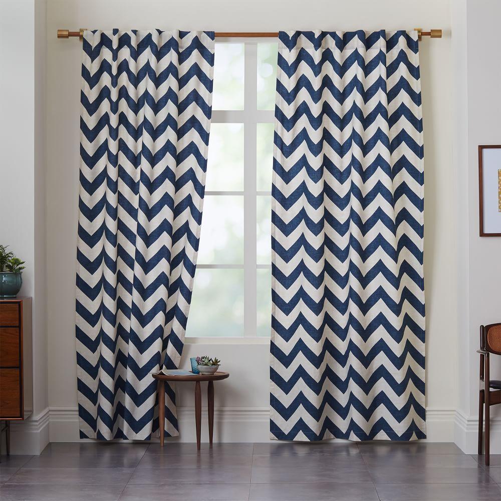 Cotton Canvas Zigzag Curtain Blue Lagoon