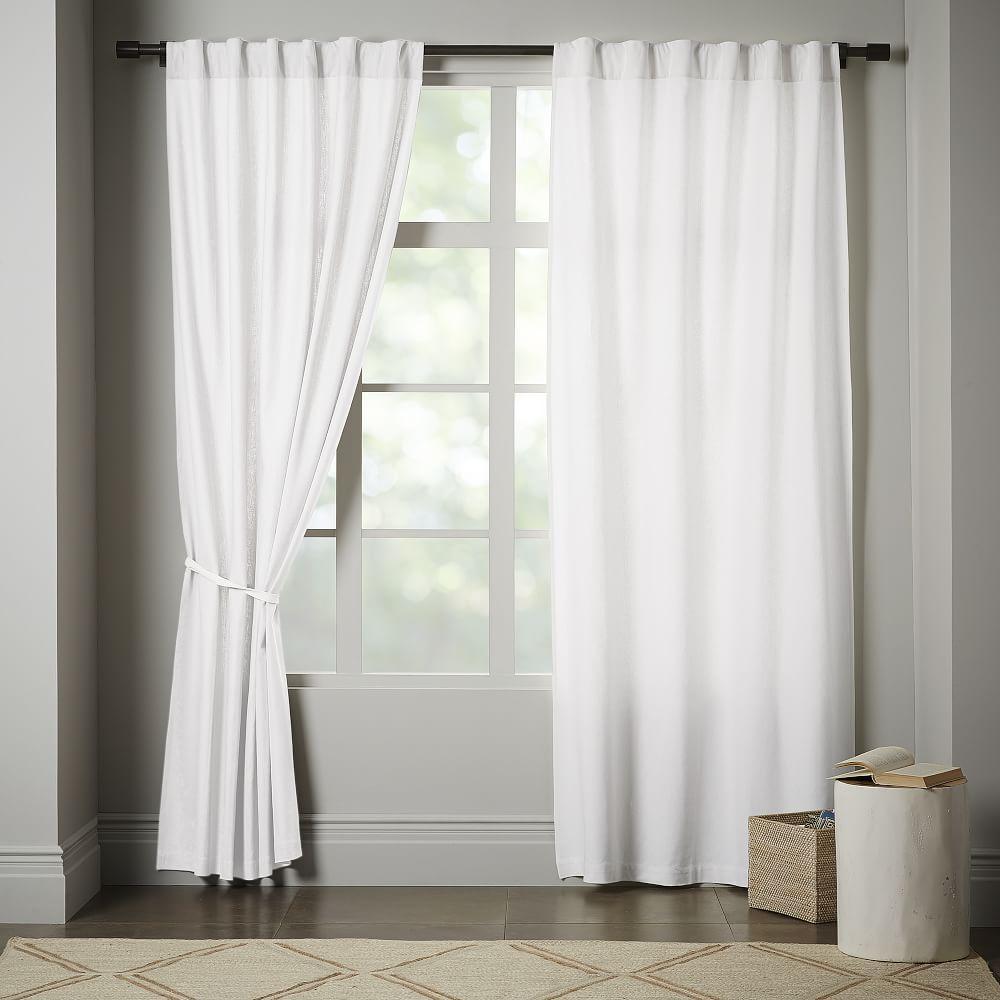 Linen Cotton Curtain Blackout Lining White West Elm Uk