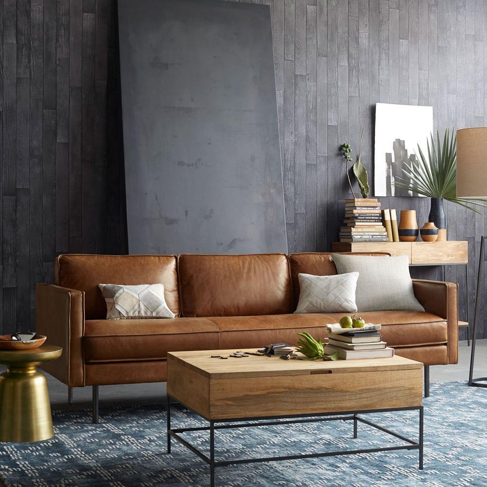 axel leather sofa 226 cm saddle west elm uk