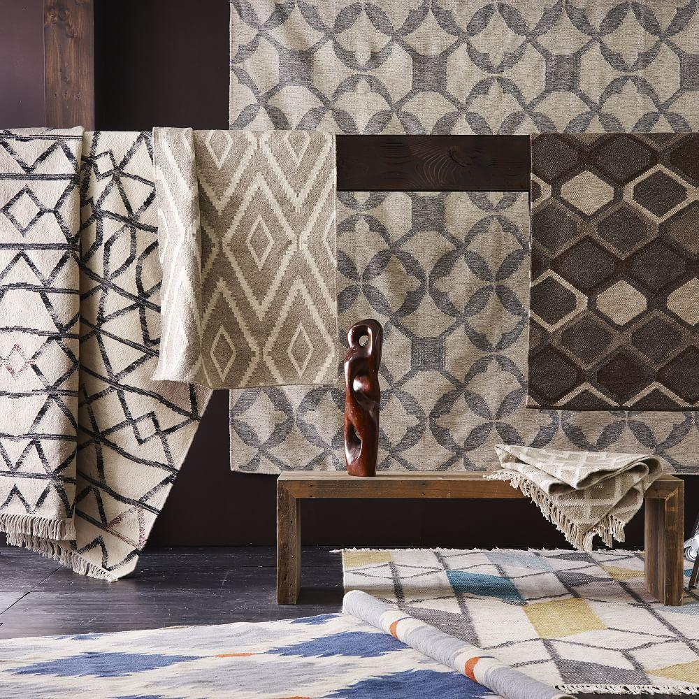 Christopher Wynter Art Rug Ivory: Abstract Angles Wool Dhurrie - Ivory
