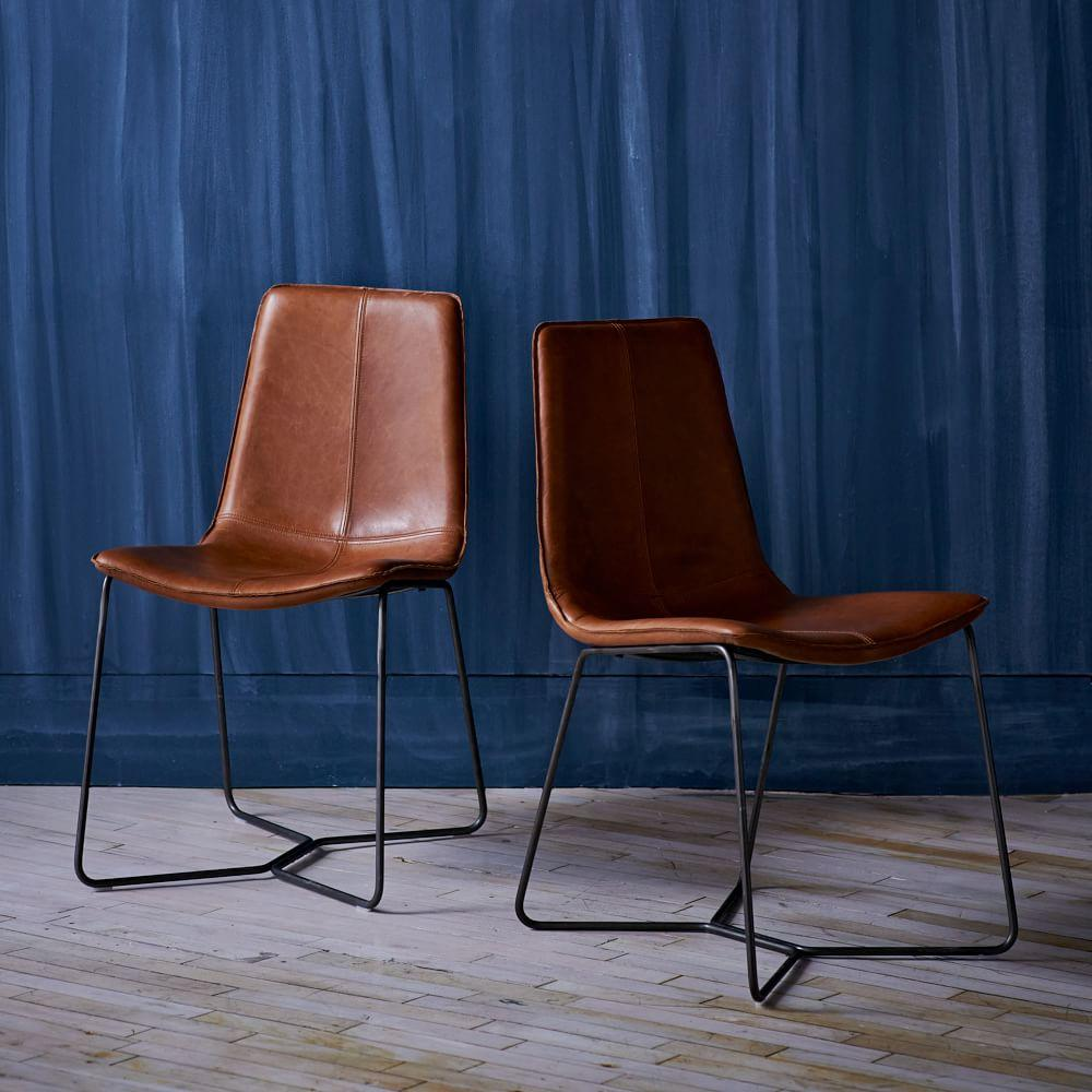 Leather Slope Dining Chair Saddle West Elm Uk