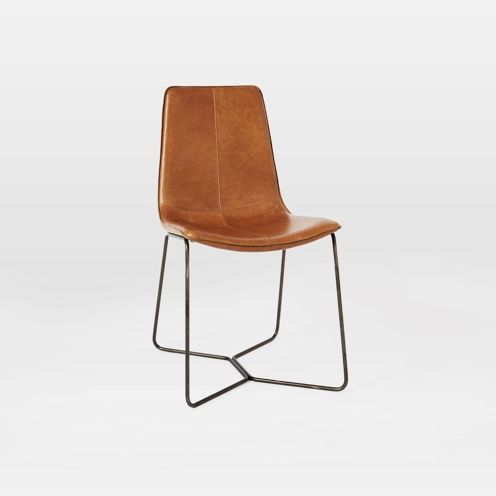 Slope Leather Dining Chair -  Antique Brass