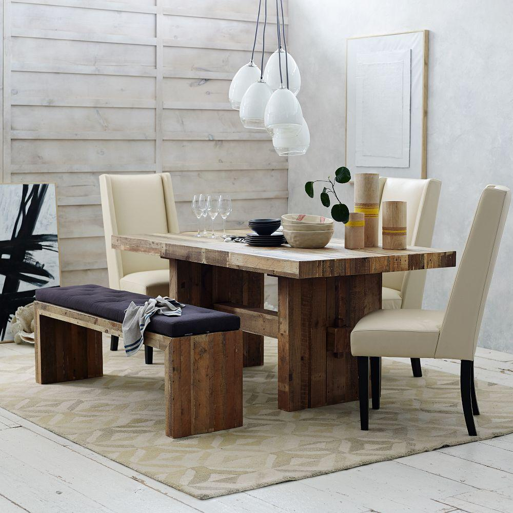 Emmerson reclaimed wood dining bench west elm uk for Unusual dining room tables uk