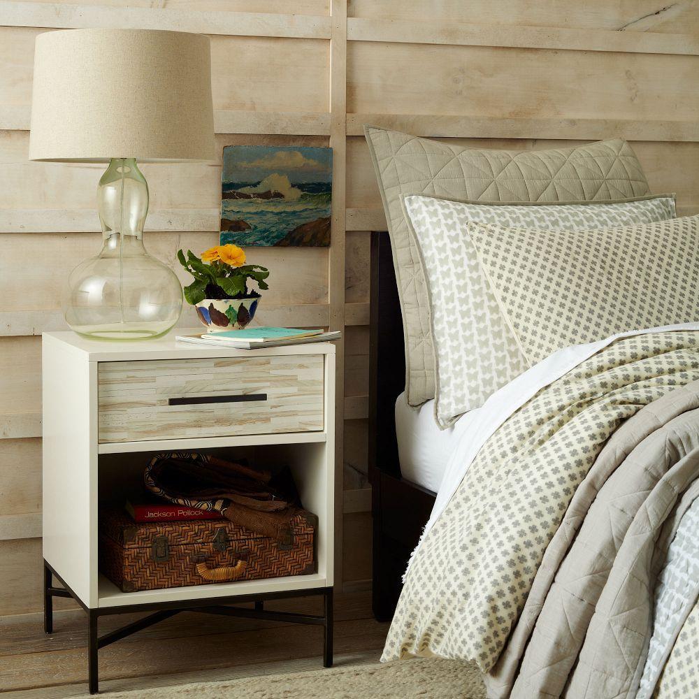 Wood Tiled Bedside Table