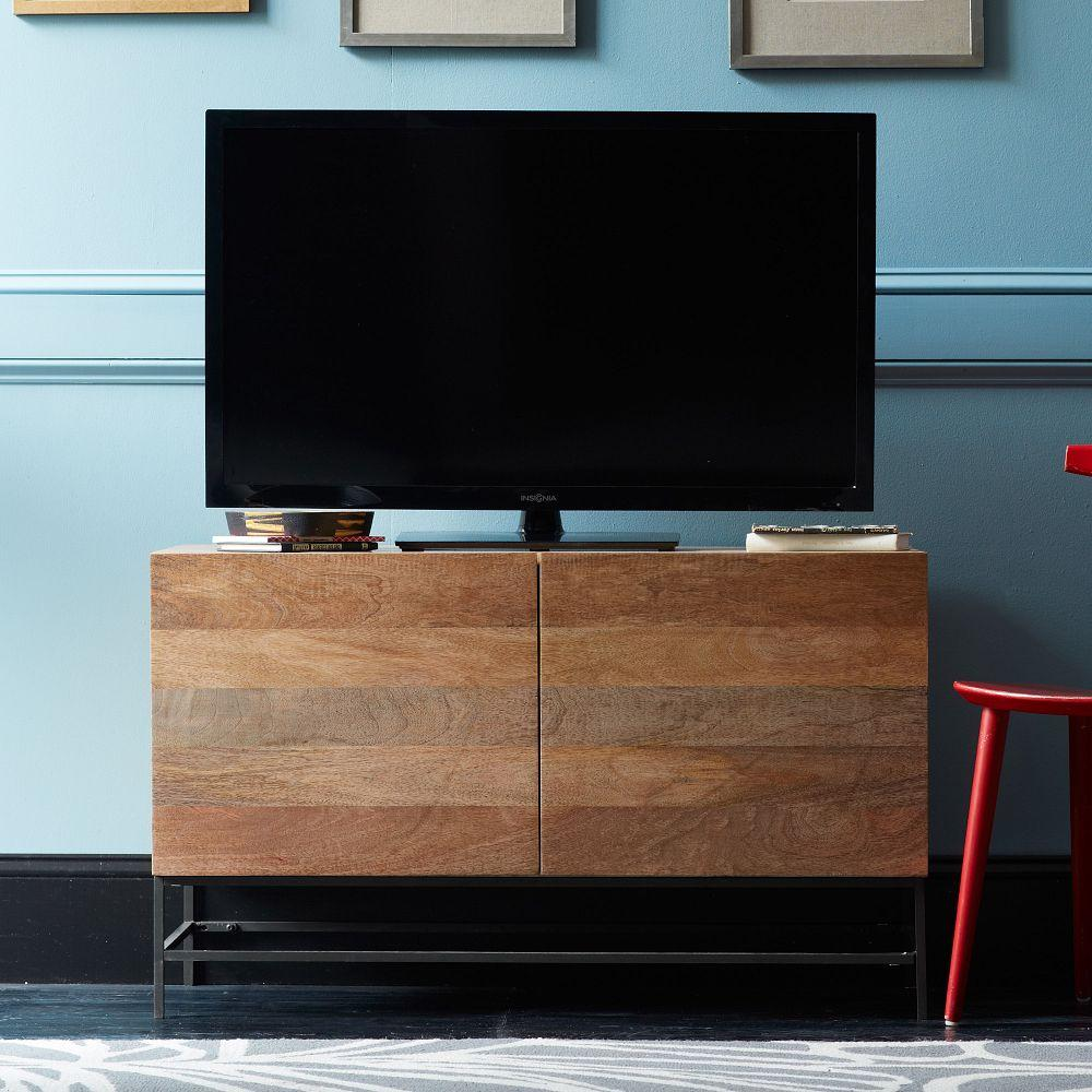 Small Indian Home Design: Industrial Storage Media Console