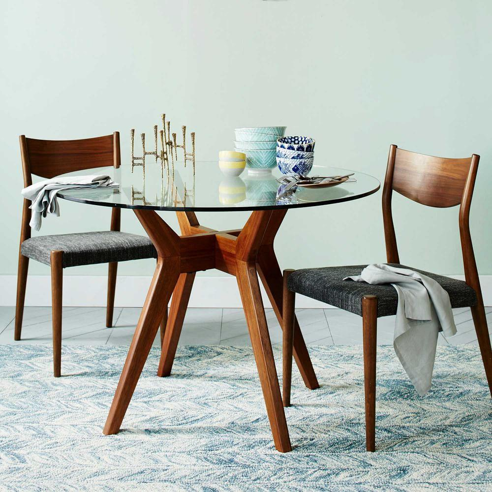 Jensen round glass dining table west elm uk for Round dining table small space