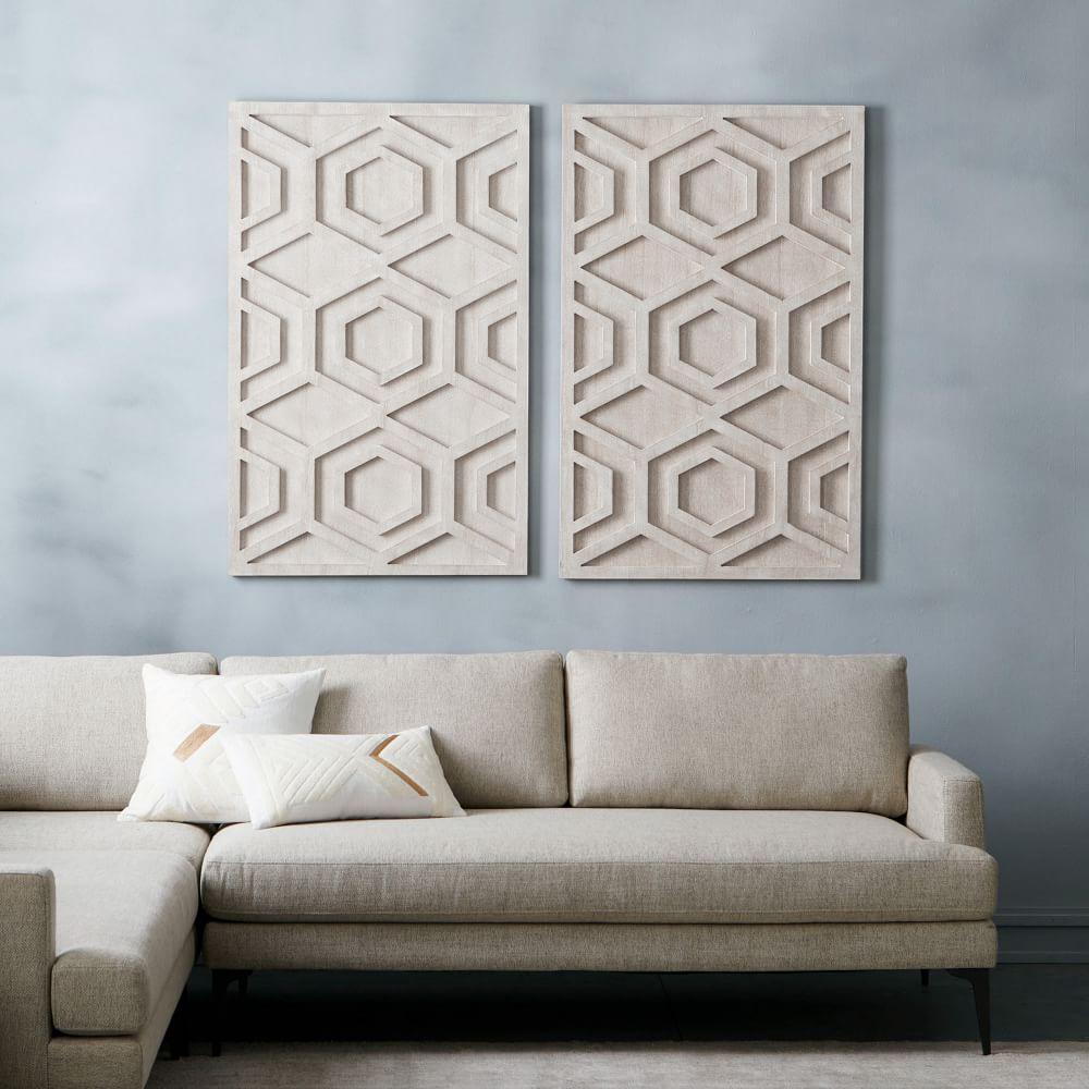 Whitewashed Wood Wall Art Hexagon West Elm Uk