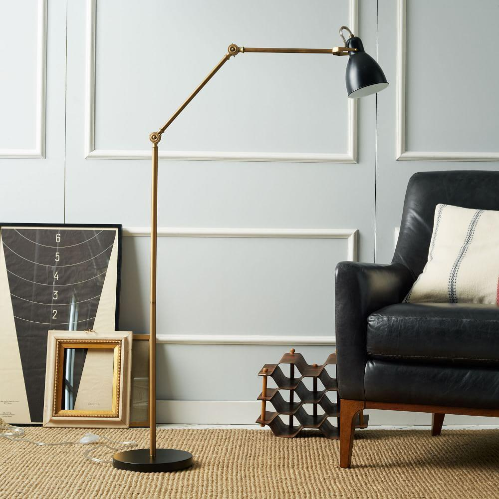 Industrial task floor lamp black brass west elm uk industrial task floor lamp black brass mozeypictures