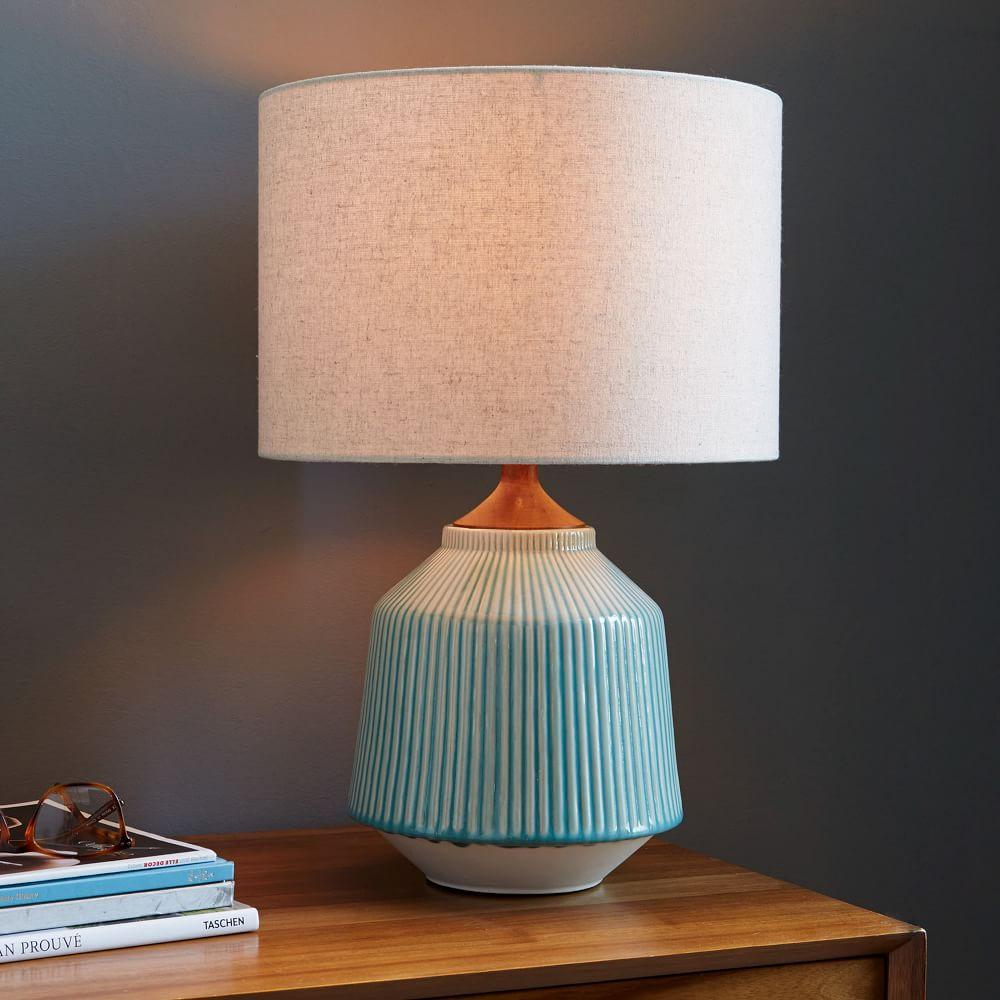 Roar rabbit ripple ceramic table lamp turquoise west elm uk roar rabbit ripple ceramic table lamp turquoise aloadofball