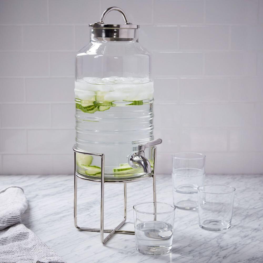 drink dispenser stand glass polished nickel west elm uk. Black Bedroom Furniture Sets. Home Design Ideas
