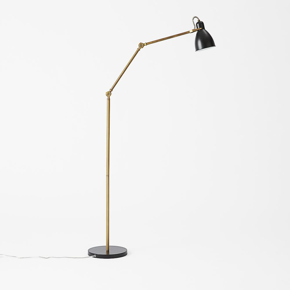 Industrial Task Floor Lamp - Black + Brass | west elm UK