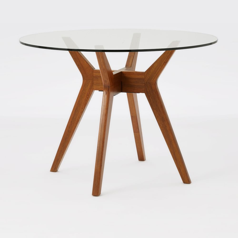 Jensen round glass dining table west elm uk for Best wood for dining table